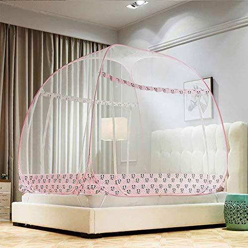 n Size, faltbares Polyester-Moskitonetz für Bett-Pop-Up, Keine Montage erforderlich Insektennetz voller Größe Bettrahmen mit Lagerung (Farbe : Rosa, größe : 1.8m (6 ft) Bed) ()