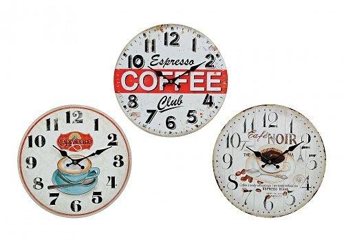 Unbekannt Wanduhr 34 cm Vintage Kaffee Holz Uhr Küchenuhr Retro (Cappuccino) - Cappuccino Küchenuhr