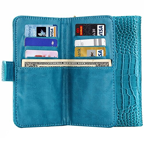 Wkae Case & Cover 6.0 cm fou crocodile texture report universel carte avec portefeuille et créneaux &cordon pour iphone 6 plus &6s plus &samsung galaxy s6 edge / g925 ( Color : Brown ) Bleu