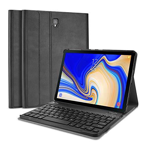 ProCase Tastiera Custodia per Galaxy Tab A 10.5(UK Layout), Smart Slim Pelle PU Cover con Rimovibile Wirless Tastiera Magnetica per Samsung Galaxy Tab A 10.5 (SM-T590 T595) -Nero