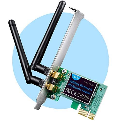 Cudy WE300 300 Mbit/s PCIe WLAN Karte Für PC, WLAN PCIe Adapter, 2 abnehmbare Antennen, Treiber frei unter Windows 10/8.1/8
