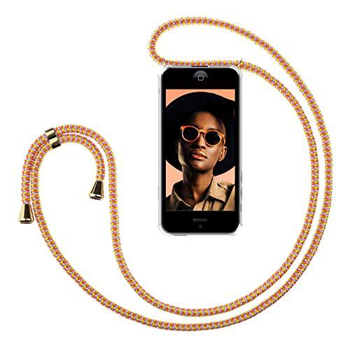 ZhinkArts Handykette kompatibel mit Apple iPhone 5 / 5S / SE - Smartphone Necklace Hülle mit Band - Schnur mit Case zum umhängen in Sunset