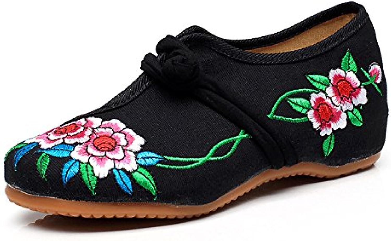 Fanwer Bordado de Dos Flores Para Mujer Zapatos de Tela Viejos de Pekín Planos Casual Walking National