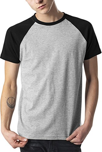 Urban Classics Herren T-Shirt Raglan Contrast Tee, Grau (Grey/Black 00119), Large (Tee Contrast Raglan)