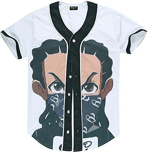 Pizoff Herren Lässig Hip-Hop T-Shirts Tops mit Knöpfen und Bunt Muster Y1724-39