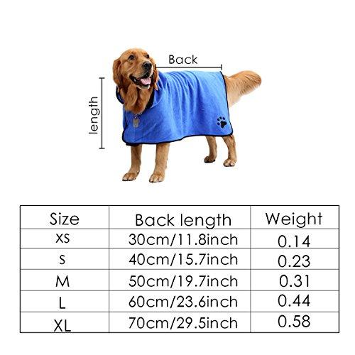 Splink Hunde Bademantel Schnell Trocknend Super saugstarker Microfiber Badetuch (L) - 6