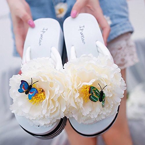Lgk Y Fa Antideslizantes Zapatos Frescos Moda Fondo De Verano De Las Mujeres De Los Deslizadores Flor Suave Playa De Los Deslizadores De La Playa Del Flip-flop Ya Menudo Fondo Exterior De 36 37 Blanco Amarillo