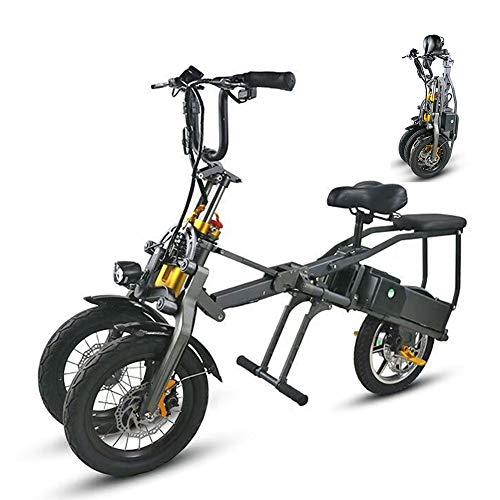 Qnlly Dreirädriges elektrisches Fahrrad EIN Knopf-schnelles faltendes Ebike mit Doppelbatterie der Pedal-36V 250Wh, Mode-Eltern-Kind-Reise-E-Bike mit 14-Zoll-Rädern