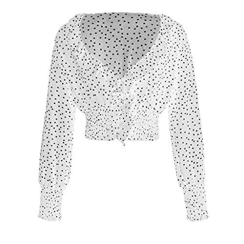 B-COMMERCE Frauen Sexy V-Ausschnitt Bluse Mode Langarm Polka Dot Crop Tops Sommer Loses Hemd Rüschen Tunika Freie Größe -