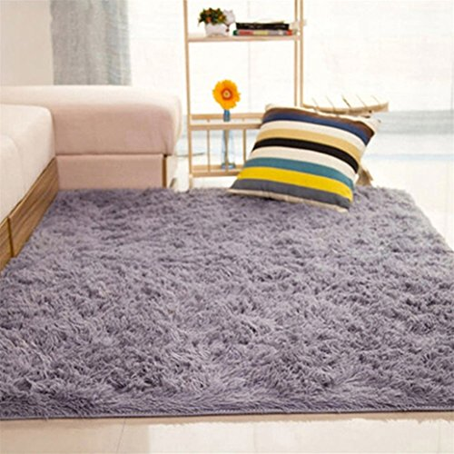 Home Living habitación dormitorio alfombra alfombra suave antideslizante rectangular área alfombra, Silver Gray, 80*120cm