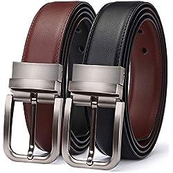 TERSE Navidad Cinturón de Hombre Cuero Genuino Marrón Negro con Hebilla Reversible 3.5 cm Ancho Largo 120 cm Tamaño ajustable de 36 a 42 pulgadas