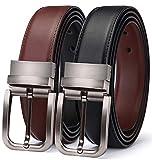 TERSE Ledergürtel Herren,Business und Anzug Freizeit Gürtel aus echtem Leder,Schwarz und Braun Wendegürtel,35mm breit, Schwarz02, 110CM
