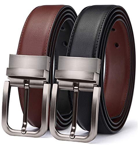 TERSE Natale Cintura Uomo Vera Pelle Fibbia reversibile Nero Marrone Genuine Leather 3.5 Larghezza Lunghezza 110 Cintola Regolato 28 36 Pollici