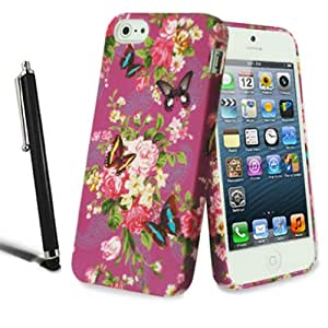 Apple iPhone 5 5S Stylish Flower Floral Silicone Case Butterfly Gel Skin Cover + Screen Protector + Stylus (Colorful Purple Flower)