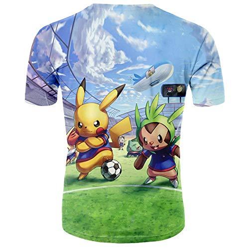 Xrwz Unisex Hombres 3D Patrón Impreso Camisetas Verano Casual Manga Corta T-Shirt Pokemon XXL
