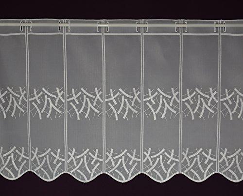 Scheibengardine nach Maß Stick- Lamellenpanneau Voile Bistrogardine Cafehausgardine Kurzstore Meterware Stangendurchzug Höhe 45 cm - Breite der Gardine durch Stückzahl in 10 cm Schritten wählbar Weiß