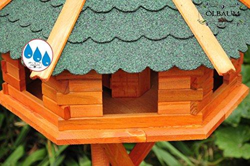 Vogelhaus XXL Premium, ca. 70-75 cm, wetterfest Massivdach, mit Silo / Futtersilo für Winterfütterung -Holz Nistkästen & Vogelhäuser- aus Holz BGX75grOS Holz ohne Ständer Vogel + Futterhaus GRÜN - 5
