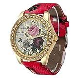 Uhren, erthome Armbanduhren Frauen Mädchen, Mode Rosenmuster Lederband Analog Quarz Vogue Armbanduhren (Rot)