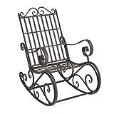 [casa.pro]®] Robuster Schaukelstuhl aus Metall in Dunkelgrün mit hellgrauer Patina