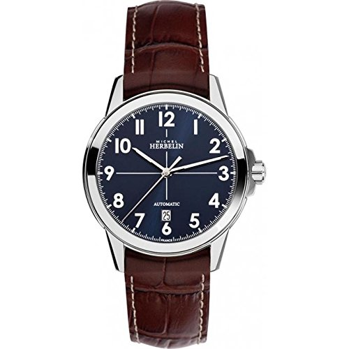 Michel Herbelin Unisex Erwachsene Analog Uhr mit Leder Armband 1650/25MA