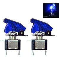 2PCS 12V / 20A Auto Interruptor de encendido / apagado SPST Toggle Switch LED Iluminado Azul