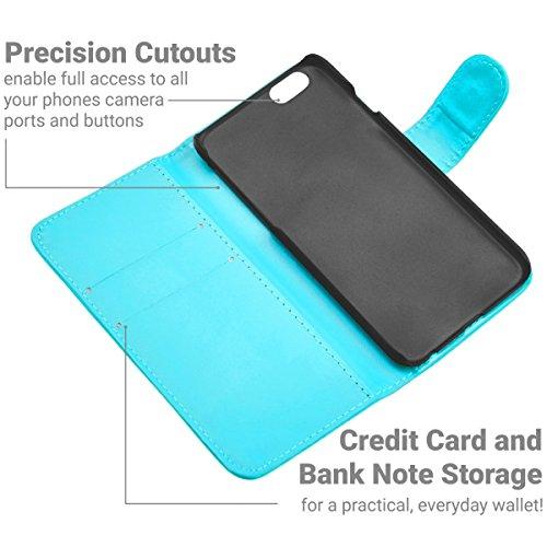 GizzmoHeaven iPhone 6 / 6S Étui en cuir porte-carte housse coque case cover pour Apple iPhone 6 / 6S avec protecteur d'écran et stylet - Rose Bleu Clair