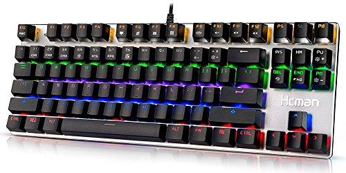 Hcman Mechanische Gaming Tastatur, US Layout Mechanical Keyboard Blue Switches, PC Gaming Keyboard von 6 Farben LED Hintergrundbeleuchtung für Computer oder Mac, 87 Tasten (87 Tasten LED)