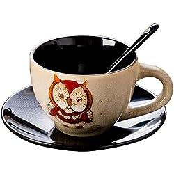 [Búho beige] Exquisite Demitasse Cup Taza de café Espresso Cup y platillo