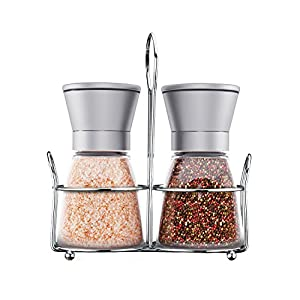 Culina Tools Salt And Pepper Grinder Set with Matching Stand, Brushed Steel, Glass Body and Adjustable Salt And Pepper Mills - Set of 2 from Arc Premier