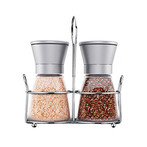 Salz-und Pfeffermühlen Set , aus gebürstetem Edelstahl und Glas, mit Deckel und passendem Ständer - 2 im Set - Salt and Pepper Grinder Set - Culina Tools (Coca-cola-flaschen Deckel)