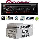 Audi A4 B7 inkl. CanBus Lenkradfernbedienung Symphony - Autoradio Radio Pioneer DEH-S100UB - CD | MP3 | USB | Android Einbauzubehör - Einbauset