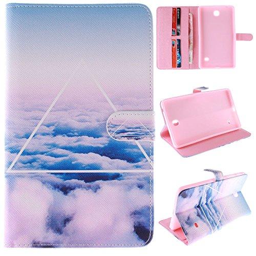 y Tab4 7 Zoll Tasche,Case für Tab 4 7.0,PU Leder Schutzhülle Flip Case Cover Hülle für Samsung Galaxy Tab 4 SM-T230 / T231 / T235 (7 Zoll) Tablet mit Support-Funktion,Weiße Wolken ()
