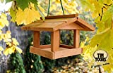 Vogelhaus aus Echtholz Futterstation 20,5x18,5 cm Vogelfutterhaus Garten Balkon Terrasse