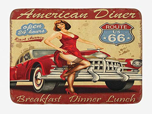 Icndpshorts Route 66 Bath Mat, American Diner Advertisement Poster with Sexy Girl and Automobile Nostalgic Art, Plush Bathroom Decor Mat with Non Slip Backing, 23.6 W X 15.7 W Inches, Mustard Red (Beach Wood Flooring)
