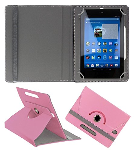 Acm Rotating 360° Leather Flip Case For Dell Venue 7 3740 Tablet Cover Stand Light Pink  available at amazon for Rs.149