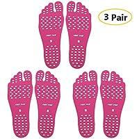 Sealen - Almohadillas para pies de playa, zapatos invisibles, suelas, hombres, mujeres, niños, calcetines de agua, antideslizantes e impermeables para playa, piscina, ejercicio, yoga, 3 pares, Sole Pink M 3, Medium