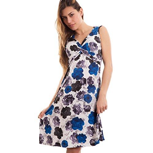 Toocool - Vestito donna abito miniabito svasato fiori scollo V intrecciato nuovo YE389 Blu