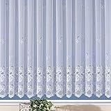 Fertig-Store Jacquard mit Kräuselband, halbtransparent, Farbe weiß Größe HxB 135x450 cm