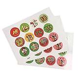 True-ying 1au 24/coloré vintage/étiquettes/Stickers/calendrier de Noël/Advent/Rond/DIY/à coller sur les numéros de calendrier de l'Avent, Stickers