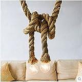 Yiwa Hängeleuchten Strick für Wohnzimmer Bar Öffentliche Plätze Dekor Vintage Rustic Hanfseil Decke Kronleuchter Kreative Pendelleuchte