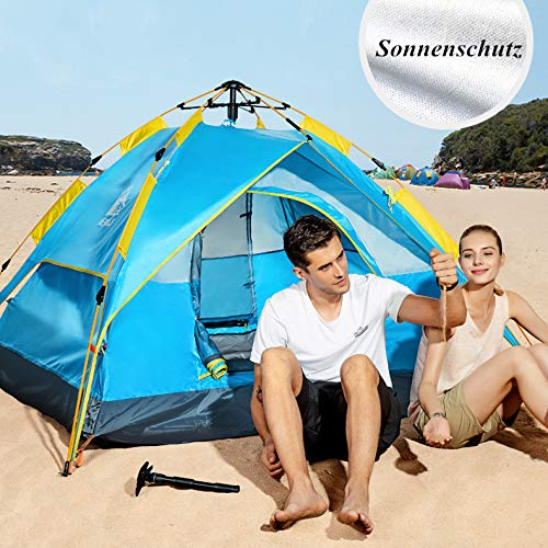 HEWOLF Zelt 2 Person | Pop Up Zelt | Campingzelt | Familienzelt | 2000-3000mm Doppelschichtiges wasserdicht Automatisches Zelt
