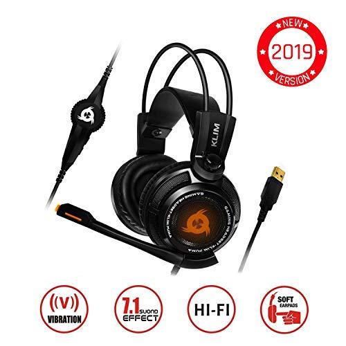 KLIMTM Puma Gaming Headset - USB 7.1 Kopfhörer - Integrierte Vibrationen - Mikrofon - Für PC Mac PS4 Laptop Games - Over Ear Gamer Headphones - Noise Cancelling Microphone [ Neue 2019 Version ] Schwarz