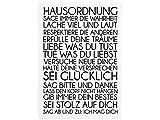 WANDTAFEL Schild HAUSORDNUNG Shabby Vintage Dekoschild Motivation Holzschild Landhaus Chic