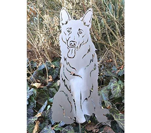 Terma Stahldesign Gartenfigur Deutscher Schäferhund höhe 30 cm, Edelrost Hund, Gartenfigur Hund, Rostfigur, Rost Figur