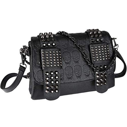 Vbiger Handtaschen Damen Leder PU Umhängetasche Damen Schultertasche Handtasche Damen Skull Tasche mit Nieten Punk Rock Schwarz -