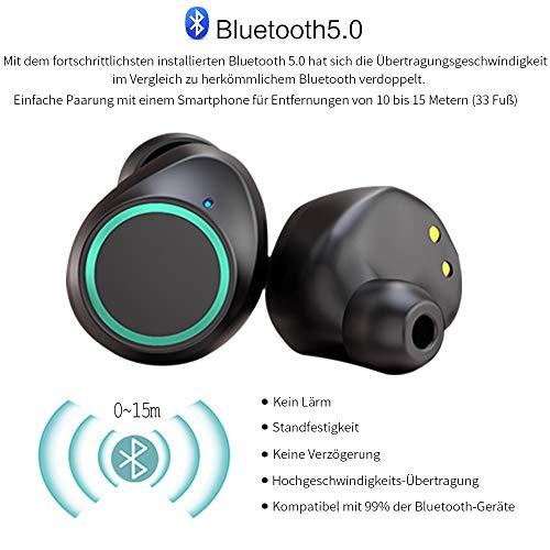 Antimi Bluetooth Kopfhörer, Bluetooth 5.0 Bluetooth Headphones Drahtlos Kopfhörer Stereo-Minikopfhörer IPX6 Wasserdicht Kopfhörer in Ear mit Ladebox und Integriertem Mikrofon für Android und iPhone - 5