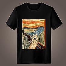 Generic Edvard Munch el grito gato parodia/parodia de obras de arte fresco manga corta alta calidad O-Neck T camiseta para hombre