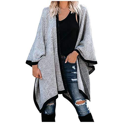 DAIFINEY Damen Poncho Schal Wrap Farbblock Open Front Cape Übergroße Winterdecke Reversible Schal Dicke Cardigan Coat B