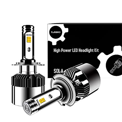 Projecteur a LED Super Bright 12000lm 64W Turbo 2x sol Kit de conversion avec jet réglable Motif Séoul Chips, CSP Tech, All-in-One ERROR FREE Design H7