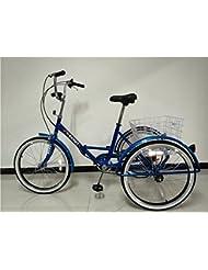 """Triciclo plegable para adultos, ruedas de 24"""" (61 cm), cambio de marchas Shimano de 6velocidades, en caja, azul"""